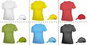 Photo-realistic vector illustration. Collection of cap and T-shirt templates (women). Black, white, blue, red, green and yellow.