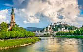 Beautiful View Of Salzburg Skyline With Festung Hohensalzburg And Salzach River In Summer, Salzburg, poster