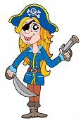 Blond pirate woman - vector illustration.