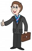 Smiling businessman on white background - vector illustration.