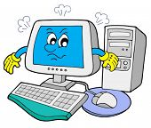 Angry computer on white background - vector illustration.