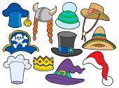 Coleção de chapéus diversos - ilustração vetorial.