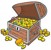 stock photo of treasure chest  - Open treasure chest  - JPG
