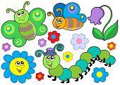 Juego de bug y flor - ilustración vectorial
