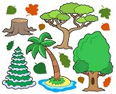 Various trees collection 1 - vector illustration.