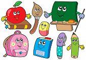 Cartoon school illustrations collections - vector illustration.