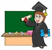 foto of school-leaver  - Graduate student with blackboard  - JPG