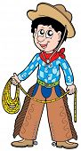 Cartoon cowboy with lasso - vector illustration.