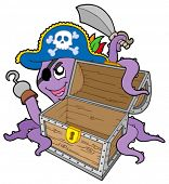 Pirate octopus with chest - vector illustration.