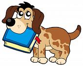 Dog holding book - vector illustration.