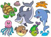 Happy sea animals collection - vector illustration.