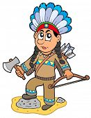 Indian boy with axe and bow - vector illustration.