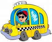 Cartoon taxi driver - vector illustration.