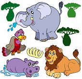 Set of African animals 1 - vector illustration.
