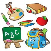 School cartoons collection - vector illustration.