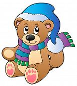 Cute teddy bear in winter clothes - vector illustration.