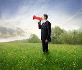 Businessman talking in a megaphone on a green meadow