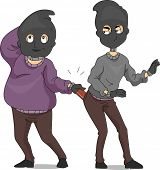 Illustration of a Pickpocket Taking Another Pickpocket's Wallet