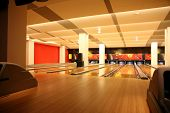 interior of a bowling alley