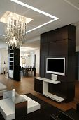 modern apartment with lcd installed in wall