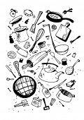 Vector illustraition of kitchen utensil, hand drawn design set.