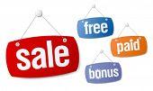 Set of sale and bonus signs