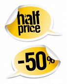 Half price sale stickers set in form of speech bubbles.