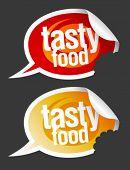 Tasty food stickers set in form of speech bubbles.