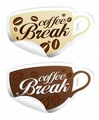 Coffee Break stickers in form of cup.