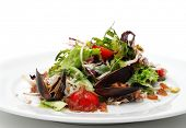 Seafood Salad with Crabmeat and Mussels. Isolated on White Background