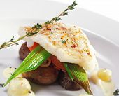 foto of halibut  - Halibut on Vegetable with Sauce - JPG