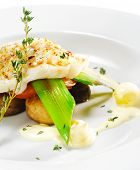 stock photo of halibut  - Hot Fish Dishes  - JPG
