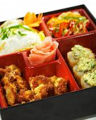 Bento Lunch: Chinese cabbage Salad, Hot Roll, Hot Appetizer and Omelette