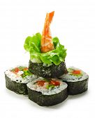 Vegetables and Shrimp Maki Sushi -  Roll made of Tomato, Cucumber, Bell Pepper, Salad Leaf and Shrimp. Garnished with Salad Leaf and Shrimp (ebi)