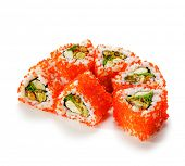 Mussel Maki Sushi - Roll made of Mussels, Tamago (japanese omelet) and Salad Leaf inside. Red Tobiko