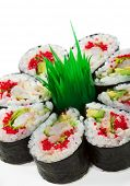 Maki Sushi made of Cucumber, Prawn (ebi), Avocado, Salad Leaf and Tobiko (flying fish roe) inside