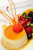 Creme Caramel with Fresh Berry Salad