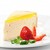 Dessert - Orange Cheesecake with Whip and Fresh Strawberry