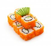 California Maki Sushi with Masago  - Roll made of Crab Meat, Avocado, Cucumber, Japanese Mayonnaise
