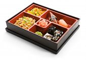Japanese Bento Lunch - Salad with Hot Rice Appetizer and Sushi