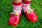 stock photo of panty hose  - My wooden red shoes - JPG