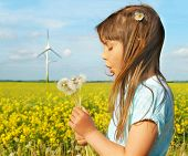 stock photo of dynamo  - Little girl in front of windmills blowing dandelions - JPG