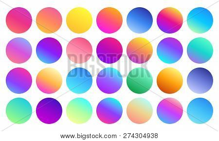 poster of Vivid Gradient Spheres. Minimalist Multicolor Circles, Abstract 80s Vibrant Colors And Modern Gradie