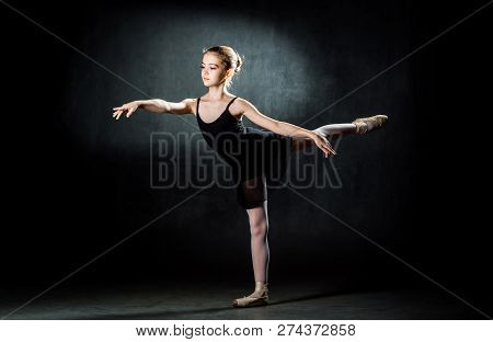 Beautiful Young Ballerina Posing And