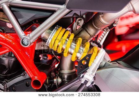 Yellow Shock Absorbers Of Motorcycle