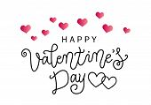 Modern Calligraphy Lettering Of Happy Valentines Day In Black On White Background Decorated With Pin poster
