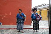 Mayan women at market in Antigua, Guatemala