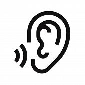 Ear Icon Isolated On White Background. Ear Icon In Trendy Design Style. Ear Vector Icon Modern And S poster