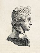 Roman emperor Augustus marble bust kept in Louvre museum, old illustration. By unidentified author, published on L'Illustration, Journal Universel, Paris, 1858