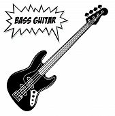 Bass Guitar 4 Strings. Vector Black And White Illustration Isolated On White Background. poster